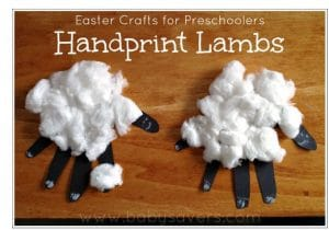 preschool Easter craft hand print lambs