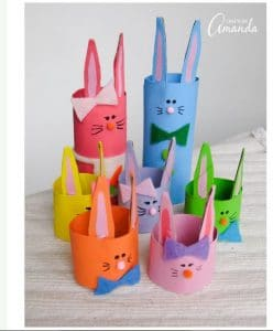 preschool Easter craft paper tube bunnies