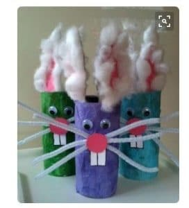 preschool Easter craft bunnies pipe cleaner wiskers