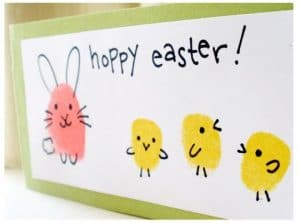 preschool Easter craft finger print animals