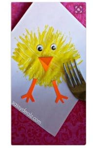 preschool Easter craft fork chick